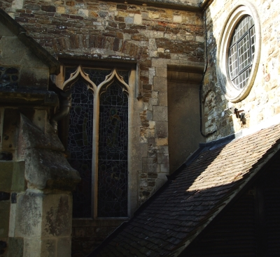 A combination of window styles in a junction of St Mary's, Rye