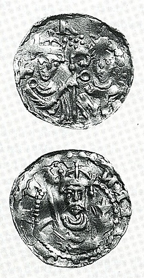 Reverse and obverse of silver penny of Liège depicting royal investiture with ring and staff, found in Estonia as part of the Kose hoard