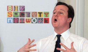 UK Prime Minister David Cameron expounding his party's `Big Society` ideology