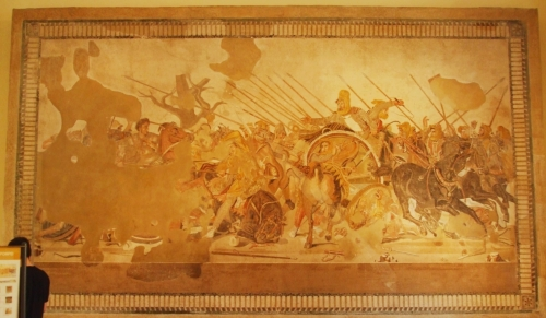Mosaic of Alexander the Great fighting Darius King of the Persians in the Museo Arqueologica Nazionale