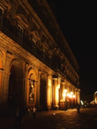 Façada of the Palazzo Reale, Naples, by night