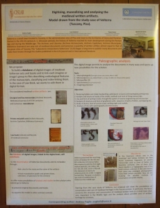 """Poster on """"Digitizing, Musealizing and Analyzing the Medieval Written Artefacts"""", which as yet has no project title or website"""