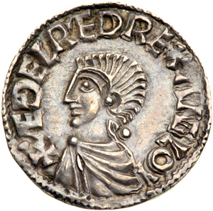 Obverse of silver penny of Æthelred the Unready from the London mint, 997x1003, by the moneyer Eadpole