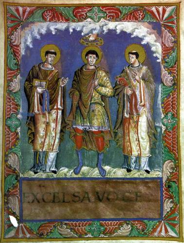 Painting of an emperor between two popes, being crowned by God
