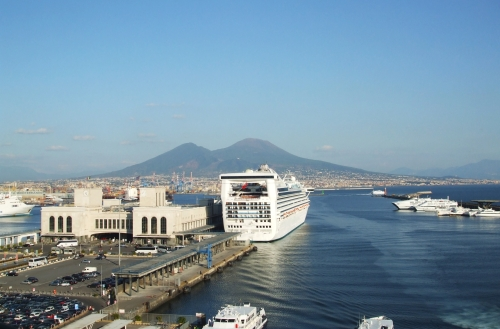 Cruise-liners in Naples harbour with Vesuvius in background