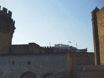 View from the Castel Nuovo to the Castel Vecchio in Naples