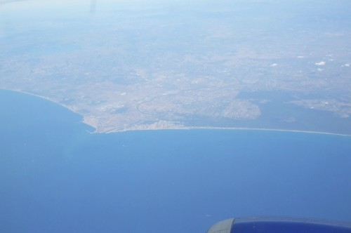 View of the Italian coast from the air
