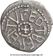Obverse of silver early penny of York mint in the name of King Eadberht of Northumbria and Archbishop Egberht  of York, 737x58, Fitzwilliam Museum, CM.1998-2008, De Wit Collection