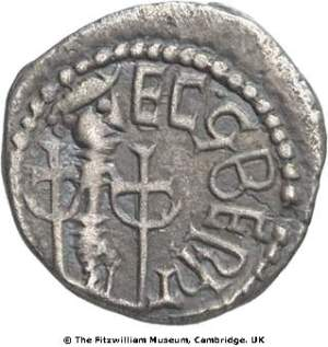 Reverse of silver early penny of York mint in the names of King Eadberht of Northumbria and Archbishop Egberht of York, 738x57, Fitzwilliam Museum, CM.1998-2007