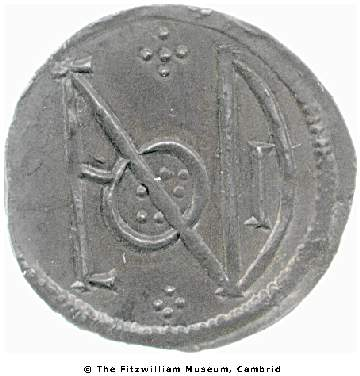 Reverse of silver penny of King Alfred showing the London mint's monogrammatic signature, Fitzwilliam museum CM.YG.1139-R, Young Collection
