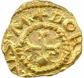 Reverse of Anglo-Saxon gold shilling of King Eadbald of Kent (616-640) struck at Canterbury, Fitzwilliam Museum CM.778-2002