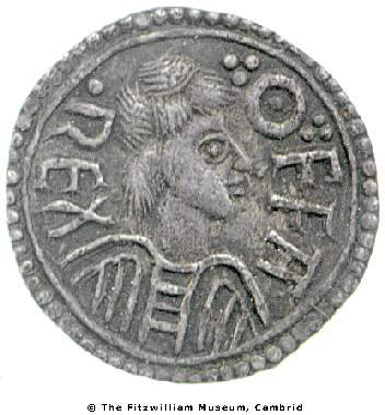 Obverse of silver penny of King Offa of Mercia, London mint by Eadhun, Fitzwilliam Museum, CM.YG.418-R, Young Collection