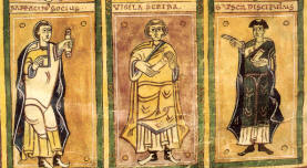 Three scribes, from the Codex Vigilanus of San Martín d'Albelda, circa 976, from Wikipedia