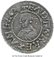Obverse of silver penny of King Edgar of the Stamford mint, 973x5, Fitzwilliam Museum CM.ME.364-R