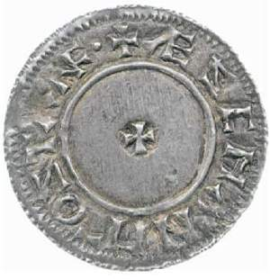 Reverse of silver penny of King Edgar of the Stamford mint, 973x5, Fitzwilliam Museum CM.ME.364-R