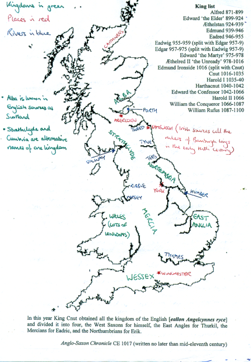 Sketch-map of England and its parts in the 10th century by George Molyneaux