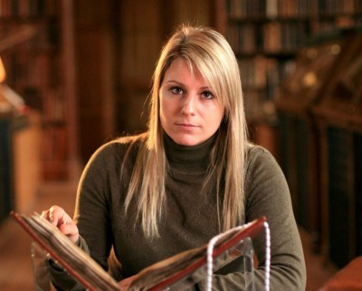 Dr Britt Baillie-Warren with the Parker Chronicle in the National Geographic program Viking Apocalypse
