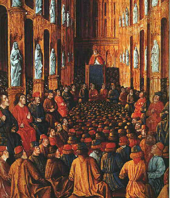 1490 manuscript illustration of the Council of  Clermont, 1095