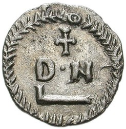 Reverse of 50-denarius silver coin of King Gelimer of Carthage, 530x534, from Wikimedia Commons