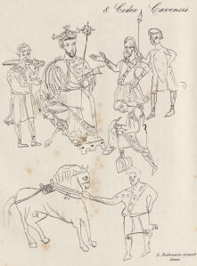Drawing by L. Bethmann of a portrait of a Lombard king issuing law in the Codex Cavensis, c. 1005