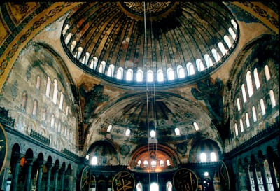 Interior view of the Hagia Sophia mosque, Istanbul, looking into the dome from the nave