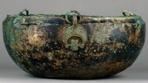 Hanging bowl used to hold a sixth-century female cremation burial at Tranmer House cemetery, Sutton Hoo