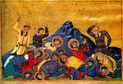 Tenth-century manuscript depiction of Bulgars slaughtering Byzantine 'martyrs'
