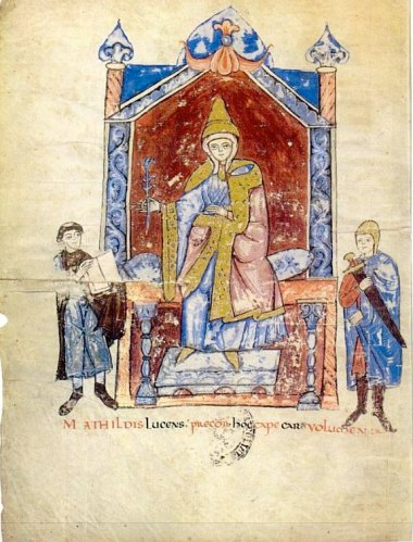 Countess Matilda of Canossa, enthroned with attendants, manuscript portrait from the Vita Mathildis by Donizone