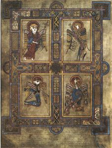 Book of Kells, fo. 27v, showing the four evangelists in their animal significations