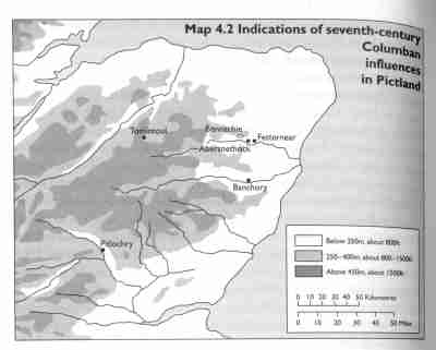 Map of Columban influences in seventh-century Pictland, from James Fraser's Caledonia to Pictland