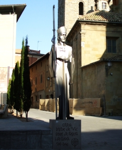 Modern metal statue of Bishop Oliba of Vic