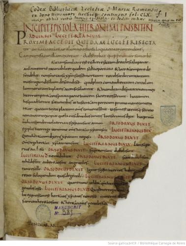 Reims Bibliothèque municipale Ms. 385, fo. 1