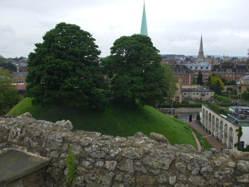 The Norman motte of Oxford Castle, seen from the top of St George's Tower