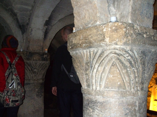 Norman capitals in the vaulting of the crypt chapel underneath St George's Tower, Oxford Castle