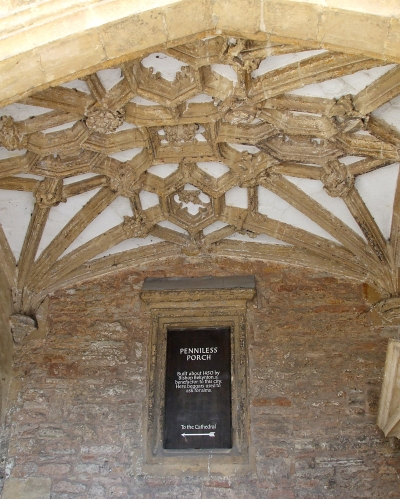 Vaulting in the so-called Penniless Porch of Wells Cathedral