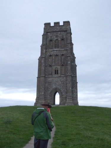 St Michael's Tower, Glastonbury, in gathering dusk