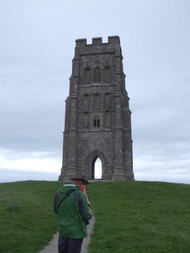 St Michael's Tower, Glastonbury, in gathering dusk