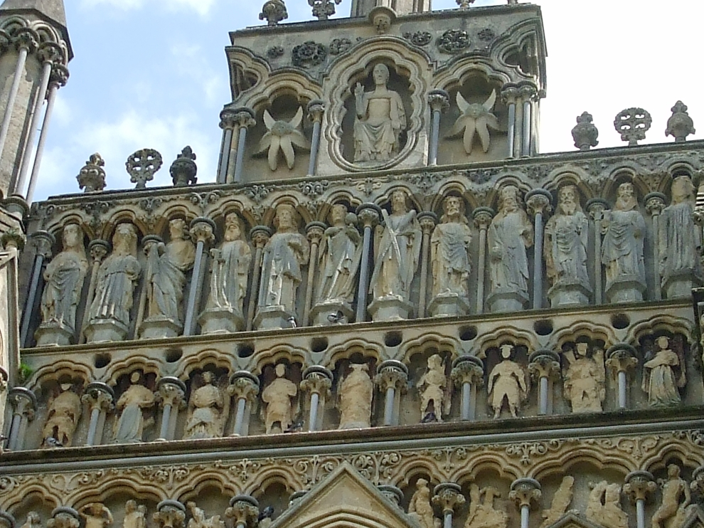Statues of the disciples on the West Front of Wells Cathedral