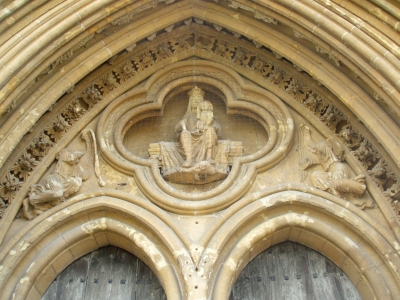 Tympanum of west portal of Wells Cathedral