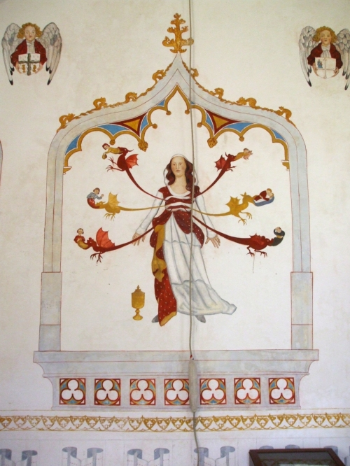 Mural painting of Mary Magdalene and seven deadly sins, by Fleur Kelly, in St Patrick's chapel, Glastonbury Abbey