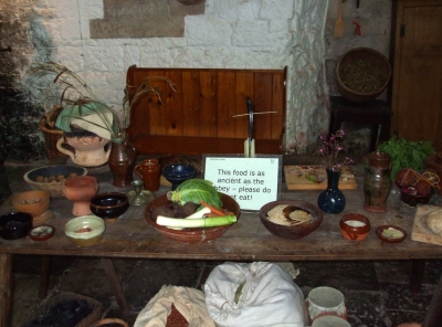 Kitchen table display in Abbot's Kitchen, Glastonbury Abbey