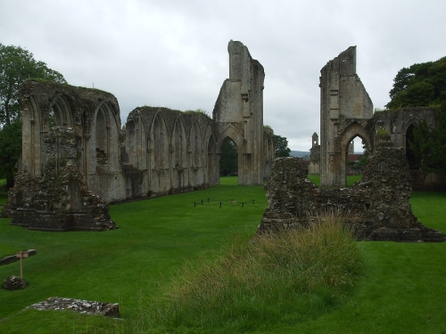 View from south-west corner of ruins of Glastonbury Abbey