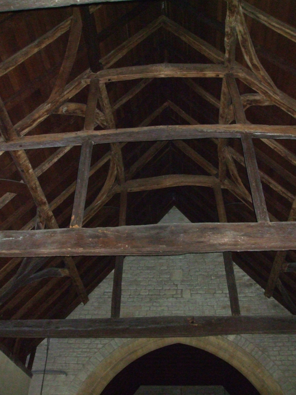 Roof timbers in Cuxham church