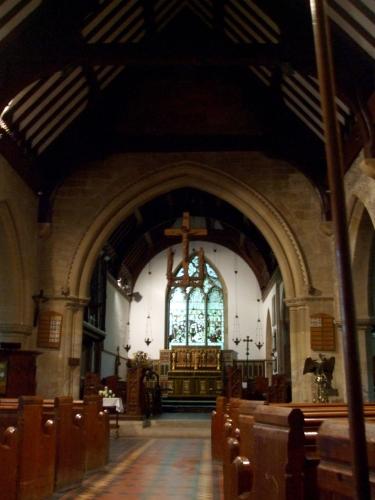 View down the nave of St Leonard's Watlington