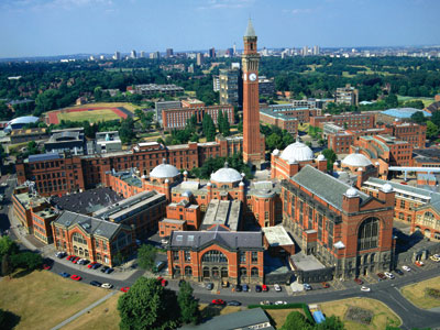 Aerial view of Edgbaston campus, Birmingham University