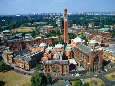 Aerial view of Edgbaston campus, Birmingham University