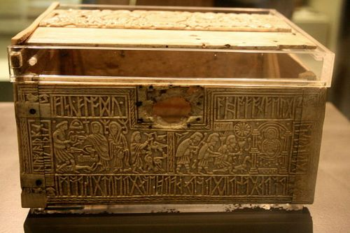Front panel of the Franks Casket, in the British Museum, showing Weland the Smith on the right and the Adoration of the Magi on the left;