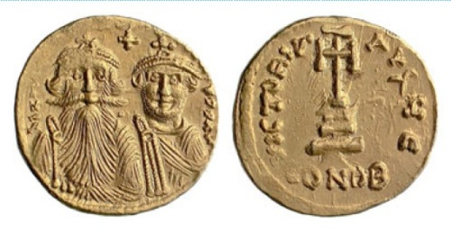 Gold solidus of Emperor Heraclius and his son Heraclius Constantine struck at Constantinople between 629 and 632.