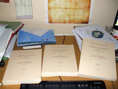 The three volumes of the Catalunya Carolíngia covering Osona and Manresa