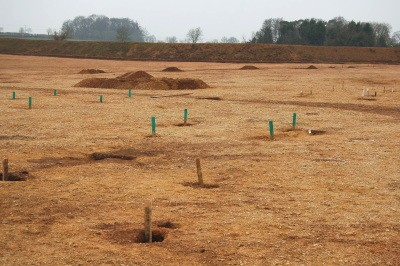 Iron Age and probably other post-holes marked out during excavation at Horcott, Gloucestershire